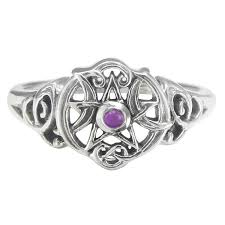 wiccan engagement rings sterling silver pentacle ring with