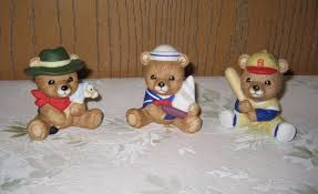 Home Interiors Figurines by Homco 1417 Set Of 3 Bears Sailor Baseball Player Cowboy Home