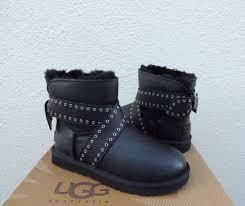 s ugg black leather ugg australia cameron bow black leather sheepskin boots size 11 us