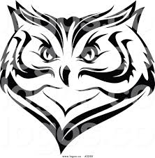 royalty free vector of a black and white owl face logo by vector