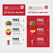 fast food voucher template with hamburger fries and coke stock