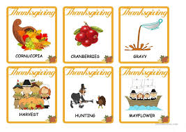 thanksgiving vocabulary flash cards worksheet free esl