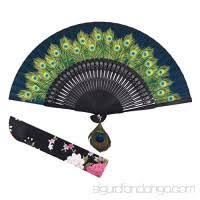 held folding fans amajiji women held silk folding fans with bamboo frame blue