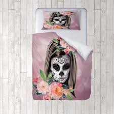 Day Of The Dead Bedding Sugar Skull Comforter Set Duvet Cover Amalia Skull