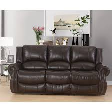 faux leather reclining sofa abbyson bradford brown faux leather reclining sofa free shipping