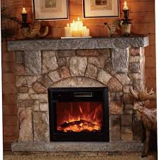 depiction of stone electric fireplace for modern rustic home