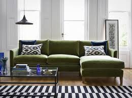 the izzy medium right hand chaise in olive pure cotton matt velvet