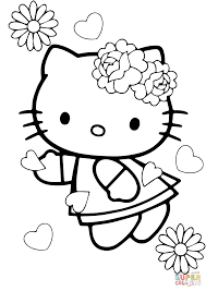 free printable hello kitty coloring pages for kids in valentine