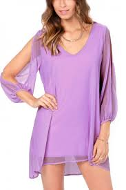 light purple short dress light purple slit long sleeve chiffon dress 011606 long sleeve