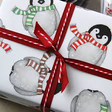 luxury christmas wrapping paper baby penguin christmas wrapping paper set by clara and macy