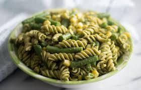 pasta salad pesto easy vegan pesto pasta salad thyme love