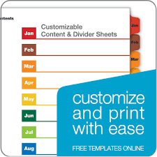 onestep printable table of contents dividers monthly multicolor