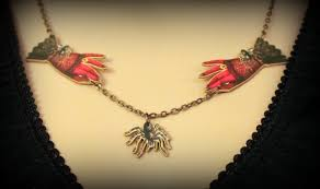 goth jewelry halloween necklace demon necklace spider