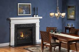hall heatilator gas fireplace with blue wall design and small
