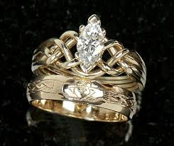 celtic wedding ring sets celtic engagement rings marquise diamond puzzle claddagh wedding