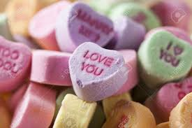 valentines hearts candy colorful conversation hearts candy for valentines day stock photo