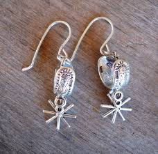 heart of a cowgirl silver spur dangle earrings