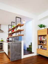 kitchen open shelving design stainless steel gas stove polished