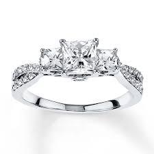 engagement rings princess cut white gold engagement ring 1 2 ct tw princess cut 14k white gold