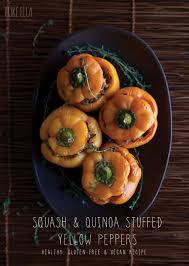 thanksgiving quinoa recipes squash u0026 quinoa stuffed yellow peppers pure ella
