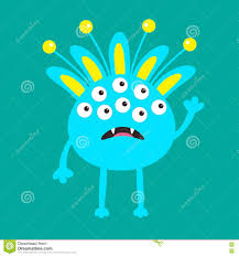 baby halloween background blue monster with ears fang tooth and horns funny cute cartoon