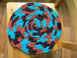 Multicolored Rug Round Placemat Blue Crochet Seat Cover Brown Crochet Handmade Mat