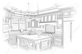 Kitchen Design Sketch Beautiful Custom Kitchen Design Drawing In Black Isolated On