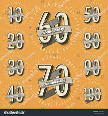 anniversary sign collection cards design retro stock vector