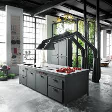 unique kitchen hood design brings industrial style into