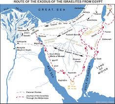 Negev Desert Map Map Of The Route Of The Exodus Of The Israelites From Egypt Bible