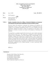 Formal Complaint Letter Against An Employee sle complaint letter against resume granitestateartsmarket