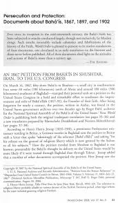 Resume Job Order by An 1867 Petition From Bahá U0027ís In Shushtar Iran To The U S Congress