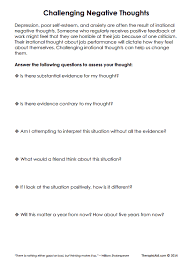 challenging negative thoughts worksheet therapist aid