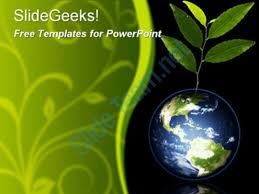 templates powerpoint earth green earth globe with plant growing recycle reuse recyclable free