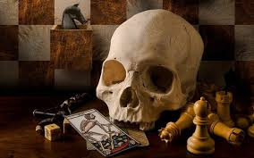 halloween horse background skull death playing cards chess dice pawns teeth horse checkered