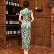 2016 new qipao dress long chinese silk dress green chinese dresses