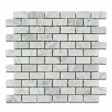 Marble Mosaic Tile Bianco Venatino Marble 1 X 2 Brick Mosaic Tile Oracle Tile U0026 Stone