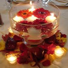 table decorations with candles and flowers floating candles with flowers red and white for romantic table