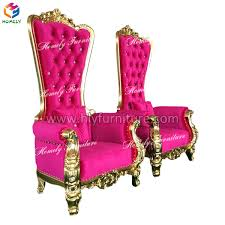 King Chair Rental Wholesale Antique Wooden Carved Mahogany High Back Gold Pink King