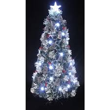 the 8ft snowy led frosted pine fibre optic tree