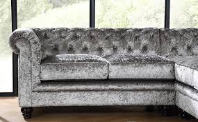 Corner Sofa Velvet Hampton Silver Crushed Velvet Chesterfield Corner Sofa Only