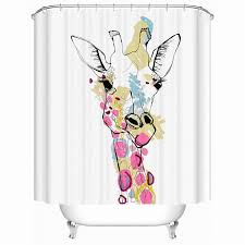 Waterproof Fabric Shower Curtains Shower Curtains Bathroom Curtain Lovely Color Giraffe Waterproof