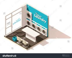 vector isometric low poly laundromat cutaway stock vector