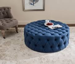 Blue Ottoman Coffee Table Furniture 13 Charming Blue Polka Dots Round Ottoman For Living