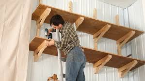 How To Build Wooden Shelf Supports by Up High Garage Shelves Youtube