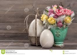 Vintage Easter Egg Decorations by Pastel Colored Tulip Flowers With Vintage Easter Eggs Decoration