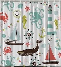 Seahorse Shower Curtain Anchor Sailboat Crab Fabric Shower Curtain Seahorse Whale Starfish