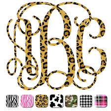 monogram car decal printed interlocking monogram decals stickers select print