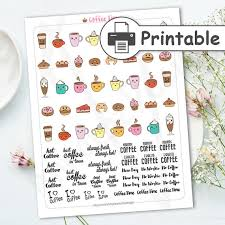 coffee planner stickers printable printable coffee stickers kawaii planner stickers cute stickers