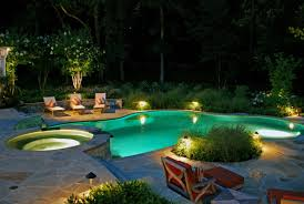 Rock Backyard Landscaping Ideas Exclusive Led Lighting With Swimming Pool Design For Small